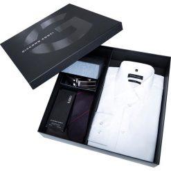 Zestaw koszula, krawat, perfum i pasek. Białe koszule męskie na spinki Giacomo Conti, m, w paski, z jedwabiu, z dekoltem woda. Za 369,00 zł.