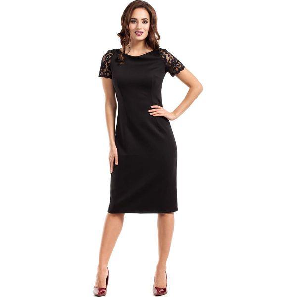 23ada13ebc7b Czarna Sukienka Wieczorowa Ołówkowa Midi z Koronką - Czarne sukienki ...