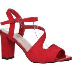 6bb98e811d2c4 Czerwone sandały z paskiem przez środek na szerokim słupku Sergio Leone  SK868. Czerwone sandały damskie