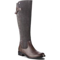 Oficerki CAPRICE - 9-25523-21 Dk Grey Comb 203. Szare buty zimowe damskie Caprice, z materiału, przed kolano, na wysokim obcasie, na obcasie. Za 549,90 zł.