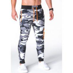 SPODNIE MĘSKIE DRESOWE P658 - SZARE/MORO. Szare spodnie dresowe męskie Ombre Clothing, moro, z bawełny. Za 48,00 zł.