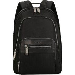 Czarny plecak męski. Czarne plecaki męskie marki Kazar, w paski, z tkaniny, z tłoczeniem. Za 599,00 zł.