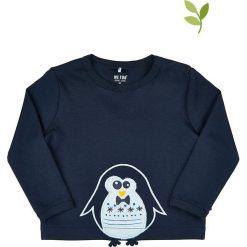 Koszulka w kolorze granatowym. Niebieskie t-shirty chłopięce z długim rękawem MeToo, z aplikacjami, z bawełny. W wyprzedaży za 42,95 zł.