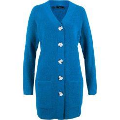 Sweter rozpinany, długi rękaw bonprix lazurowy niebieski. Niebieskie swetry rozpinane damskie bonprix. Za 99,99 zł.
