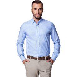 Koszula WILEA. Niebieskie koszule męskie na spinki LANCERTO, m, w prążki, z bawełny, button down. W wyprzedaży za 149,90 zł.
