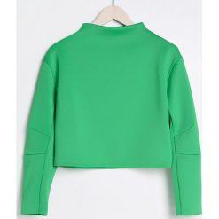 Krótka bluza ze stójką - Zielony. Zielone bluzy damskie marki Reserved, l, z krótkim rękawem, krótkie. W wyprzedaży za 34,99 zł.