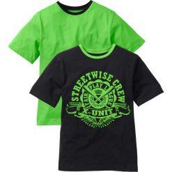 Koszulka ( 2szt.) bonprix czarno-jaskrawy zielony. Czarne t-shirty chłopięce z nadrukiem bonprix. Za 39,98 zł.