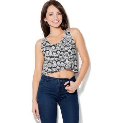 Colour Pleasure Koszulka damska CP-035  137 czarno-biała  r. XS-S. Fioletowe bluzki damskie marki Colour pleasure, uniwersalny. Za 64,14 zł.