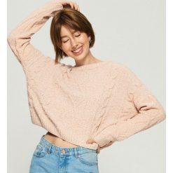 Sweter z warkoczowym splotem - Różowy. Czerwone swetry klasyczne damskie marki Sinsay, l, ze splotem. Za 79,99 zł.