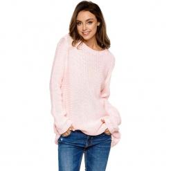 Sweter w kolorze jasnoróżowym. Brązowe swetry oversize damskie marki Lemoniade, z klasycznym kołnierzykiem. Za 169,95 zł.