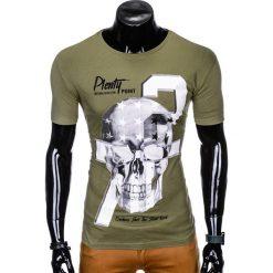 T-SHIRT MĘSKI Z NADRUKIEM S995 - KHAKI. Brązowe t-shirty męskie z nadrukiem Ombre Clothing, m. Za 29,00 zł.