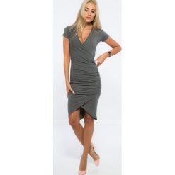 Sukienki: Ciemnoszara Kopertowa Sukienka 3381
