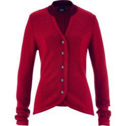 Sweter rozpinany ludowy ze stójką w kontrastowym kolorze bonprix ciemnoczerwono-bordowy. Czerwone golfy damskie bonprix. Za 59,99 zł.
