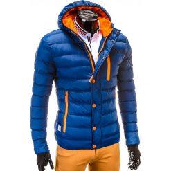 KURTKA MĘSKA ZIMOWA PIKOWANA C124 - GRANATOWA. Czarne kurtki męskie pikowane marki Ombre Clothing, m, z bawełny, z kapturem. Za 149,00 zł.