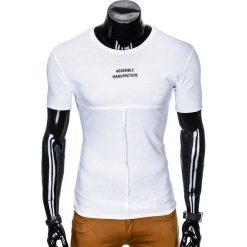 T-shirty męskie: T-SHIRT MĘSKI Z NADRUKIEM S958 - BIAŁY
