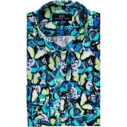 Koszula SIMONE KDWS000139. Niebieskie koszule męskie na spinki Giacomo Conti, m, w kolorowe wzory, z bawełny, z włoskim kołnierzykiem. Za 199,00 zł.