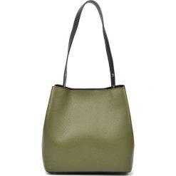 Torebki i plecaki damskie: Skórzana torebka w kolorze zielonym – (S)28 x (W)31 x (G)14 cm
