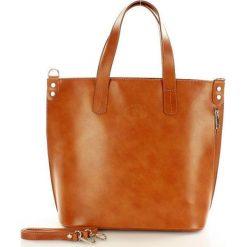 Shopper bag damskie: Skórzana camel Torebka Shopperka SARITA