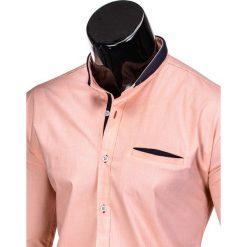 KOSZULA MĘSKA Z DŁUGIM RĘKAWEM K360 - MORELOWA. Brązowe koszule męskie na spinki marki Ombre Clothing, m, z aplikacjami, z kontrastowym kołnierzykiem, z długim rękawem. Za 49,00 zł.