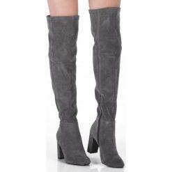 Szare Kozaki Kartegina. Czarne buty zimowe damskie marki Kazar, ze skóry, przed kolano, na wysokim obcasie, na obcasie. Za 94,99 zł.