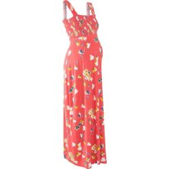 Długa sukienka shirtowa ciążowa bonprix koralowy z nadrukiem. Pomarańczowe długie sukienki marki bonprix, na lato, z nadrukiem, z wiskozy, moda ciążowa, z długim rękawem. Za 74,99 zł.