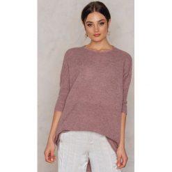 Swetry oversize damskie: NA-KD Długi sweter z melanżowej dzianiny – Pink