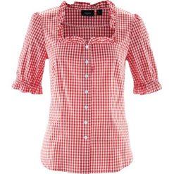 Bluzka ludowa, krótki rękaw bonprix truskawkowo-biały w kratę. Czerwone bluzki damskie bonprix, z krótkim rękawem. Za 79,99 zł.