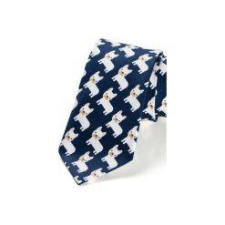 Krawat męski MIRANDA buldożki. Niebieskie krawaty męskie HisOutfit, z materiału. Za 129,00 zł.