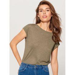 Koszulka basic - Khaki. Brązowe t-shirty damskie marki Mohito, l. Za 39,99 zł.