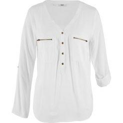 Bluzka z wiskozy, długi rękaw bonprix biały. Białe bluzki longsleeves bonprix, z wiskozy. Za 74,99 zł.