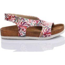 Rzymianki damskie: Sandały w kolorze biało-różowym ze wzorem