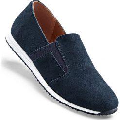 Buty wsuwane ze skóry welurowej bonprix ciemnoniebieski. Szare buty sportowe damskie marki bonprix, z materiału. Za 119,99 zł.