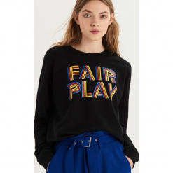 Bluza z kolorowym nadrukiem - Czarny. Czarne bluzy z nadrukiem damskie marki Sinsay, l. Za 39,99 zł.
