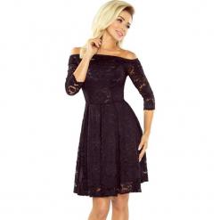 168-1 sukienka z odkrytymi ramionami - kontrafałda - koronka czarna. Czarne sukienki koronkowe marki numoco, na co dzień, l, w koronkowe wzory, z odkrytymi ramionami. Za 188,00 zł.