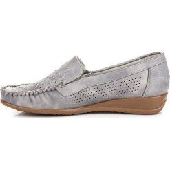 Mokasyny damskie: Szare ażurowe mokasyny HASBY odcienie szarości i srebra