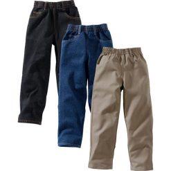 """Odzież chłopięca: Luźniejsze spodnie (3 pary) bonprix czarny """"stone"""" + ciemnoniebieski """"stone"""" + brunatny"""