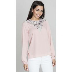 Bluzki z egzotycznym wzorem: Różowa Lekka Bluzka z Karczkiem w Kwiatki