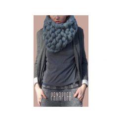 UNISEX SZAL KOMIN 100% WEŁNA MERINO. Szare szaliki damskie marki Panapufa, na zimę, z materiału. Za 250,00 zł.