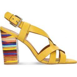 Sandały DIAN. Żółte sandały damskie na słupku marki Kazar, ze skóry, na wysokim obcasie. Za 299,90 zł.