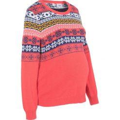 Sweter ciążowy bonprix koralowy wzorzysty. Pomarańczowe swetry klasyczne damskie bonprix, moda ciążowa. Za 89,99 zł.
