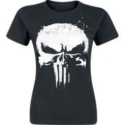 The Punisher Sprayed Skull Logo Koszulka damska czarny. Czarne bluzki z odkrytymi ramionami The Punisher, xl, z nadrukiem, z okrągłym kołnierzem. Za 54,90 zł.