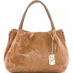 Torebki klasyczne damskie: Skórzana torebka w kolorze jasnobrązowym – 28 x 20 x 12 cm