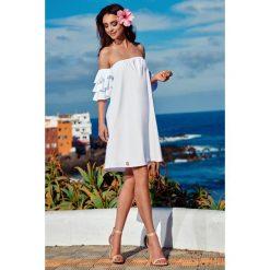 Idealna sukienka bez ramion biały FIFI. Białe sukienki balowe marki bonprix, na plażę, w koronkowe wzory. Za 159,90 zł.