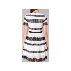 Sukienki krótkie MICHAEL Michael Kors  GRAPHIC CR STRIPE DRS. Białe sukienki mini marki MICHAEL Michael Kors, z krótkim rękawem. Za 1039,20 zł.