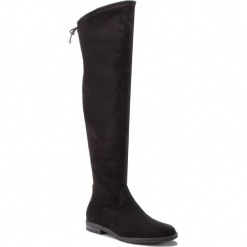 Muszkieterki TAMARIS - 1-25500-21 Black 001. Czarne buty zimowe damskie Tamaris, z materiału, przed kolano, na wysokim obcasie, na obcasie. Za 279,90 zł.