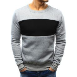 Bluzy męskie: Bluza męska bez kaptura szara (bx3296)