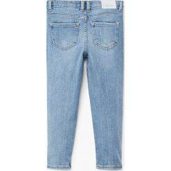 Mango Kids - Jeansy dziecięce Lora 110-164 cm. Niebieskie jeansy dziewczęce Mango Kids, z aplikacjami, z bawełny. W wyprzedaży za 69,90 zł.