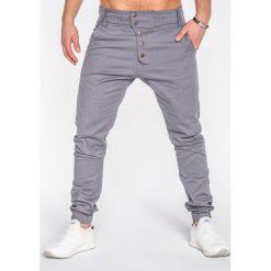 SPODNIE MĘSKIE JOGGERY P480 - SZARE. Szare joggery męskie marki Ombre Clothing, z bawełny. Za 84,00 zł.
