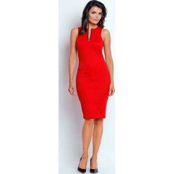 Czerwona Ołówkowa Letnia Sukienka z Kontrastowym Zamkiem. Czerwone sukienki letnie marki Molly.pl, na imprezę, l, z kontrastowym kołnierzykiem, bez rękawów, midi, dopasowane. W wyprzedaży za 106,86 zł.
