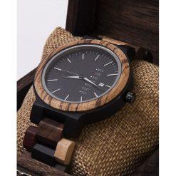 Zegarki męskie: Wielokolorowy zegarek z barwionego drewna